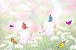 パステルカラーの花畑と蝶