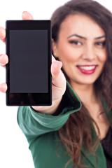 Beautiful young woman showing her smart  phone screen