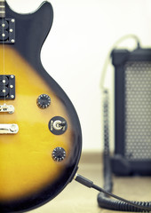 Guitar with amplifier