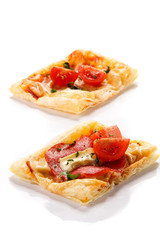 Mini pizza on white background