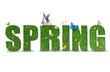 Obrazy na płótnie, fototapety, zdjęcia, fotoobrazy drukowane : Spring word concept on white background