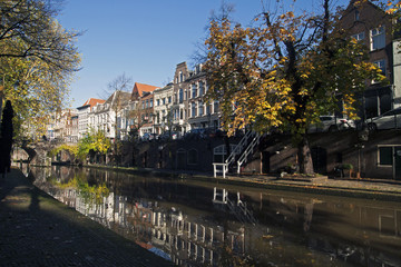 Houses on the old canal in Utrecht.