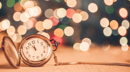 new year clock glowing background