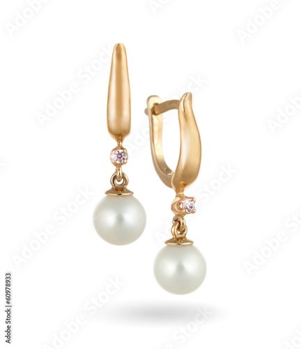 Beautiful Gold Earrings with Diamonds and Pearls / Isolated