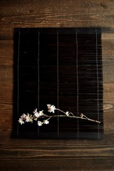 Japanese cherry blossoms on black bamboo blind