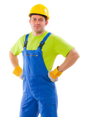 a men wearing working clothes isolated on white background
