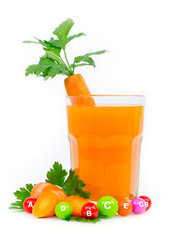 Fresh and healthy carrot juice