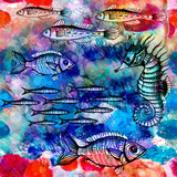 Seamless pattern with fish swimming in the sea. Vector, EPS 10