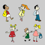 Hand drawn vector set for your design: children go to school