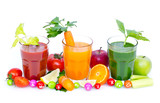 Fototapety Fresh, organic fruit and vegetable juices