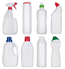 Blank bottles of cleaning supplies isolated on white