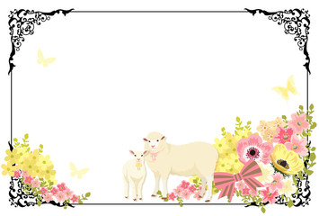 ヒツジの親子と花とレトロな額縁