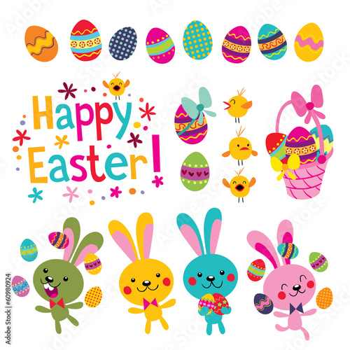 Happy Easter design elements set