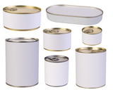 Tins with blank labels isolated on white