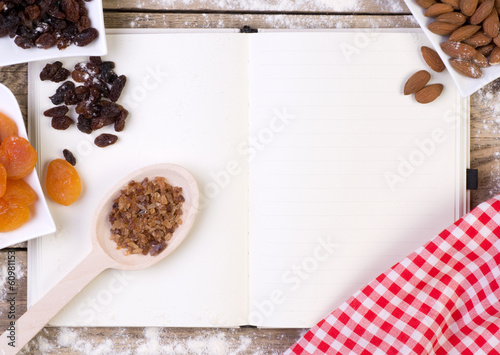 recipe book with cake ingredients