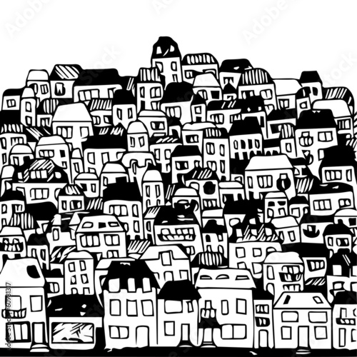 Handdrawn vector illustration: real estate and city