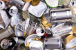 canvas print picture - Metal cans and tins prepared for recycling