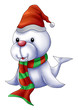 Cartoon illustration of a seal with santa's hat