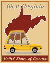 west virginia road trip vintage poster