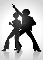 Silhouette of a couple dancing in the 70s fashion style