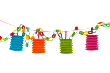 Colorful paper chain with lanterns