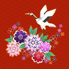 Kimono decorative motif with flowers and crane