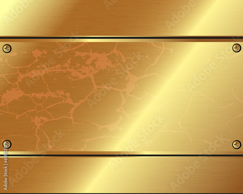 Abstract metallic background of gold  plates