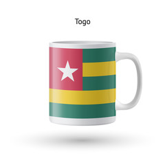 Togo flag souvenir mug on white background.