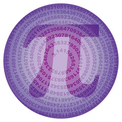 circle with sequence of number pi digits