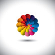 vector icon of infinite spiral of colorful flower petals