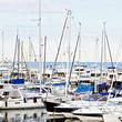 Yachts and boats in marina on the Cote d'Azur .