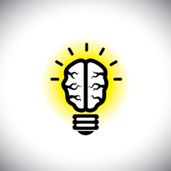 vector icon of creative, inventive brain as idea light bulb