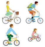 Various people riding Bicycle, Isolated
