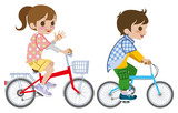 Two kids riding Bicycle, Isolated