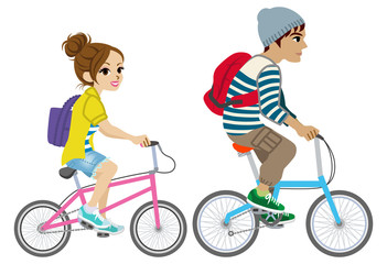 Young couple riding Bicycle, Isolated