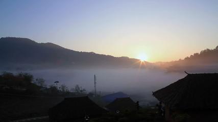 Sunrise at Rak Thai Village, Mae Hong Son, Thailand
