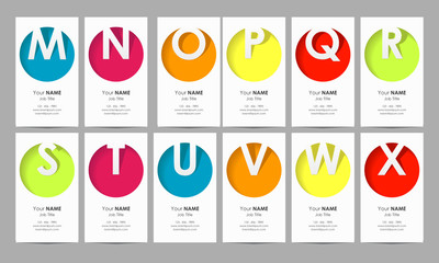 vertical business cards - capital letters