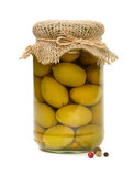 jar of olives over white