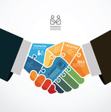 infographic Template with businessman handshake jigsaw banner .