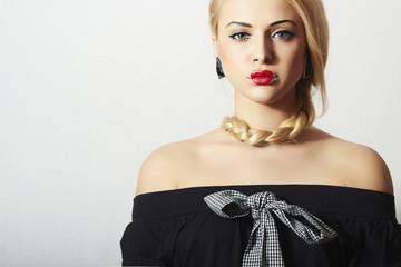 Unusual Beautiful Blond Woman.Red Lips.Freak Girl with Tress