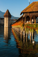 Chapel Bridge in Lucerne with its Wasserturm (water tower).