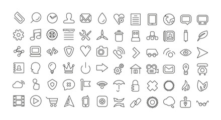 Web line icon set. Universal thin icons
