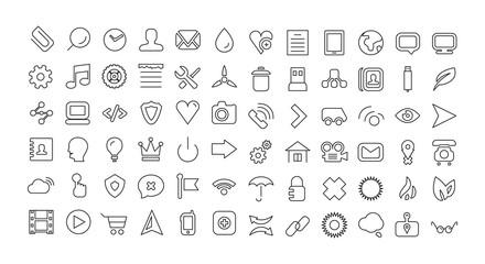 Web line icon set. Universal thin icons