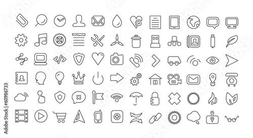 Web line icon set. Universal thin icons - 60986733