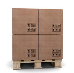 Cardboard boxes on a pallet.