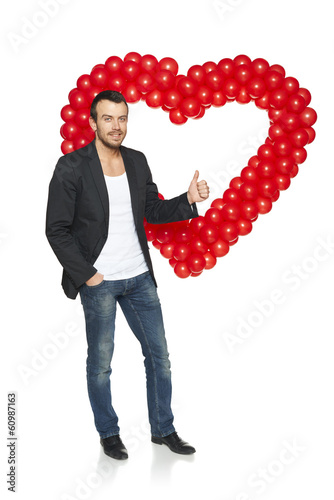 Man standing with heart shape