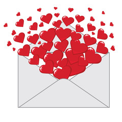 Love letter with hearts Valentines.Vector
