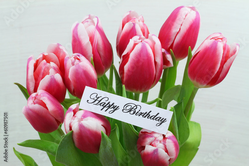 Happy birthday card with pink tulips
