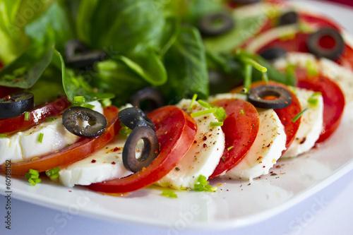 canvas print picture Tomaten mit Mozzarella