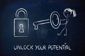 unlock your potential, funny girl being successful